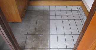 玄関タイルの掃除