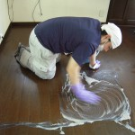 フローリングワックス剥離洗浄です。(川崎市)